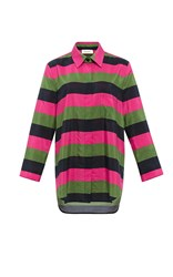Isa Arfen Stripe Silk Cotton Relaxed Shirt Green