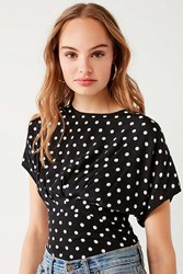Urban Outfitters Uo Jenny May Short Sleeve Button Down Top Black Multi