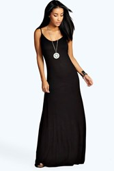 Boohoo Strappy Low Back Maxi Dress Black