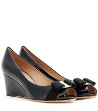 Salvatore Ferragamo Sissi Patent Leather Wedges Black