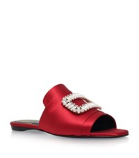 Roger Vivier Embellished Buckle Satin Mules Female Red