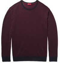 Isaia Wool Silk And Cashmere Blend Sweater Burgundy