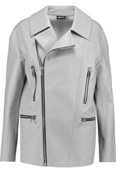 Dkny Oversized Leather Biker Jacket Light Gray
