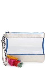 Vince Camuto Thore Clear Tassel Wristlet Clutch Metallic New Silver Clear