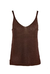Topshop Metal Yarn Camisole Top Bronze
