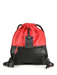 Diesel Two Tone Drawstring Leather Backpack Red Black