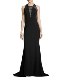 Carolina Herrera Fitted Jersey Lace Inset Gown Black