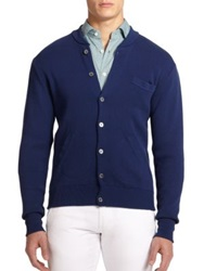 Slowear Slim Fit Cotton Bomber Sweater Navy Blue