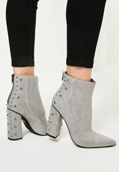 Missguided Grey Star Stud Heeled Ankle Boots