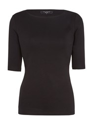 John Lewis Boat Neck Half Sleeve T Shirt Black