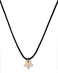 Bliss By Damiani Stainless Steel Twice Star Pendant Cord Necklace