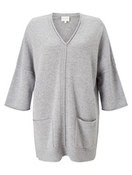 East V Neck Tabbard Jumper Grey