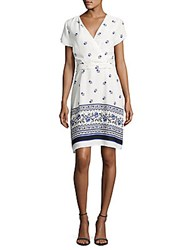 Collective Concepts Drape Front Floral Print Dress Off White Navy