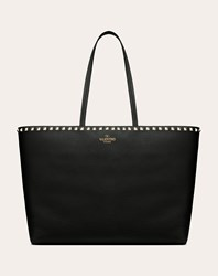 Valentino Garavani Large Grain Calfskin Leather Rockstud Shopping Bag Black Calfskin 100