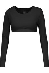 Norma Kamali Cropped Stretch Jersey Top Black