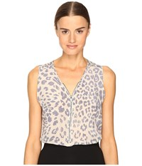 The Kooples Sport Silk Leopard Casual Print Tank Top Blue 2 Women's Sleeveless