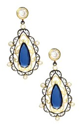 Savvy Cie 18K Yellow Gold Vermeil Ornate Blue Jean Quartz And Crystal Chandelier Earrings Multi