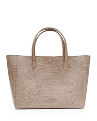 Reiss Louie Croc Embossed Leather Tote Neutral