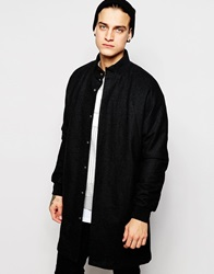 Asos Longline Wool Bomber Jacket Black