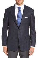Hickey Freeman Men's Classic Fit Plaid Wool Sport Coat Navy