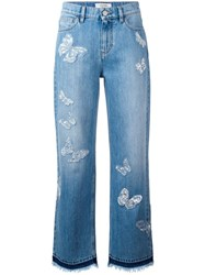 Valentino Butterfly Applique Boyfriend Jeans Blue
