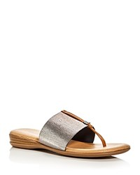 Andre Assous Nice Metallic Thong Sandals Pewter