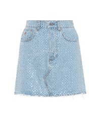 Attico Embellished Denim Skirt Blue
