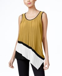 Ny Collection Asymmetrical Mixed Media Pleated Top Jet Black Bright White Kelp