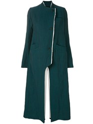 Lost And Found Ria Dunn Single Breasted Asymmetric Coat Green
