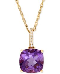 Macy's Amethyst 3 3 4 Ct. T.W. And Diamond Accent Pendant Necklace In 14K Gold Yellow Gold