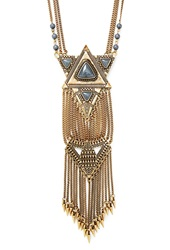 Forever 21 Tribal Inspired Statement Necklace Antic Gold Grey