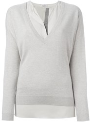 Brunello Cucinelli Layered V Neck Jumper Nude And Neutrals