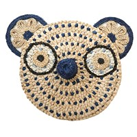 Anne Claire Navy Bear Straw Face