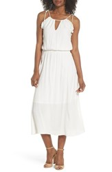 Fraiche By J Ruffle Midi Dress Off White