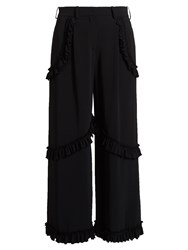 Simone Rocha Ruffled Wide Leg Crepe Trousers Black