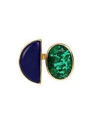 Diane Von Furstenberg Mixed Faceted Reconstituted Stone Goldplated Mismatch Linear Ring Gold Turquoise
