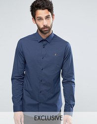 Farah Polka Dot Shirt In Slim Fit With Stretch Navy