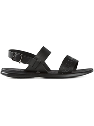 Emporio Armani Embossed Logo Strap Sandals Black