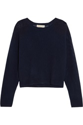 Michael Michael Kors Open Knit Cashmere Sweater Blue