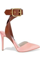 Alice Olivia Rachelle Leather Trimmed Satin Pumps Baby Pink