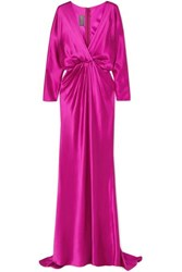 Monique Lhuillier Draped Silk Satin Gown Fuchsia