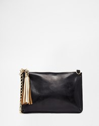 Urbancode Leather Clutch Bag With Optional Shoulder Strap Black