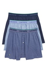 Lacoste 3 Pack Knit Boxers Navy Medium Blue Cargo