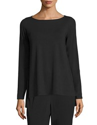 Eileen Fisher Solid Boatneck Top Black
