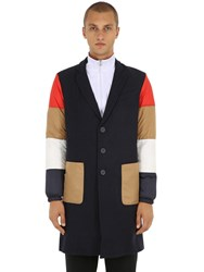 Diadora Lc23 Wool Coat W Patchwork Sleeves Navy