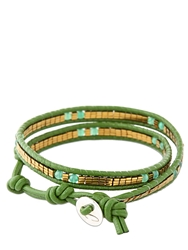 Colana Leather Wrap Bracelet With Jade Green