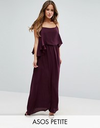 Asos Petite Pretty Double Layer Maxi Dress Oxblood Red