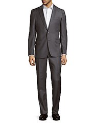 Versace Solid Wool Suit Light Grey