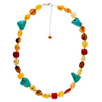 Be Jewelled Sterling Silver Faceted Bead Necklace Multi