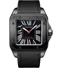 Cartier Santos 100 Stainless Steel And Leather Watch